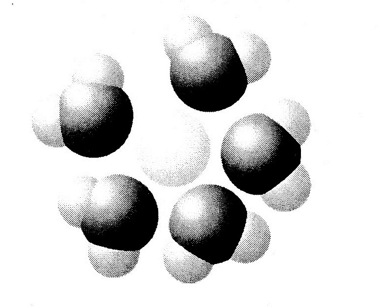 Based on your knowledge of the polarity of water molecules, the solute molecule depicted here is most likely